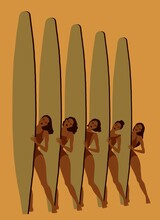 Five Surfer Girls With Surfboa...