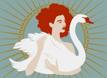 Curly Girl With Redheads Holds A White Swan Against The Background Of Rays Diverging From The Sun.