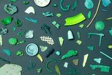 Pieces Of Green Plastic On The...