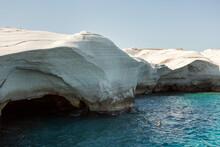Sarakiniko Cliffs And White Stone On Milos, Greece