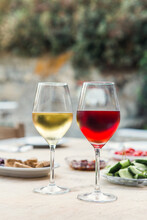 White And Red Wine In Greece