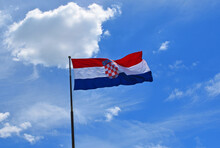 Croatian Flag Against  Blue Sk...