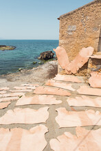 Sheets Of Leather Drying In The Sun In Crete