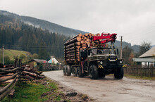 A Timber Truck Carries Firewood