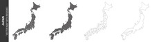 Set Of 4 Political Maps Of Japan With Regions Isolated On White Background