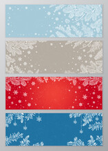 Set Of Vector Holiday Frames With White Snowflakes And Christmas Tree Branches On Blue, Brown, And Red Background With Empty Place For Text. Vector Illustration