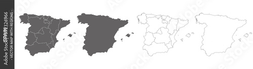 set of 4 political maps of Spain with regions isolated on white background