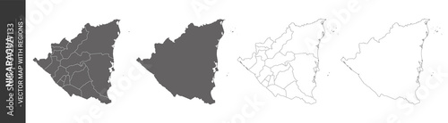 Fotografie, Obraz set of 4 political maps of Nicarague with regions isolated on white background