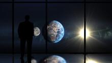 Man Looking At Earth And Moon ...