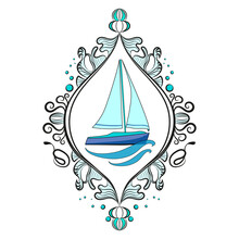 Sailing Boat On The Waves. Beautifully Framed Vector Image.