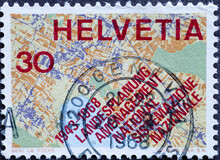 Switzerland - Circa 1968 : A Postage Stamp Printed In The Swiss Showing Aa Map Section With The Text: Country Planning