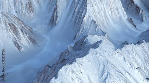 Photo 3D illustration of beautiful mountain landscape relief.