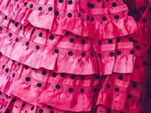 Closeup Shot Of Pink Ruffled Spanish Flamenco Textile