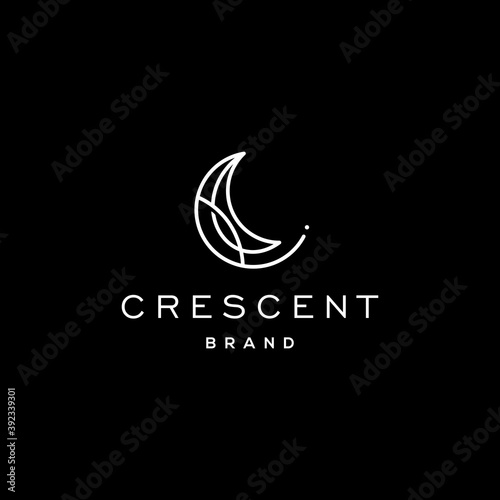 Fotografiet Elegant crescent moon and star logo design line icon vector in luxury style outl