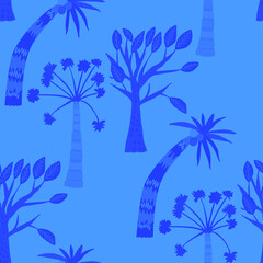 Fototapeta na wymiar Creative seamless pattern with cartoon forest. Bright summer print with tropical leaves. Tropical pattern. Jungle exotic summer print.