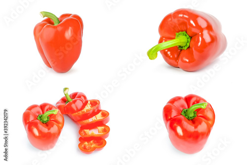 Papel de parede Collage of red sweet peppers over a white background