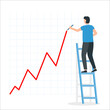 Businessman draws a growth chart standing on the stairs. Financial profit growth chart.
