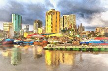 Pasig River And Binondo District Colorful Painting