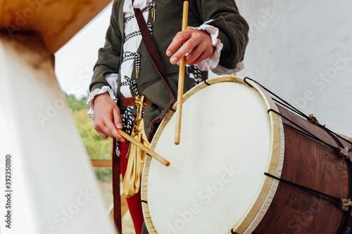 Drummer beats in vintage drum crush music Canvas