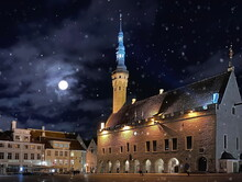 Night City Medieval Tallinn Old Town  Hall Square Light Reflection  Starry Night Moon And Snowflakes  Travel To Estonia