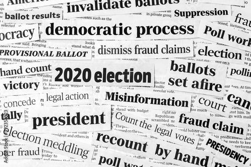 Obraz na plátně Newspaper headlines of 2020 United States of America presidential election