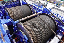 Wire Rope Sling Or Cable Sling On Crane Reel Drum Or Winch Roll Of Crane The Lifting Machine In Heavy Industrial.