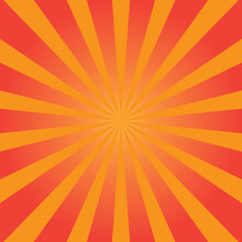 Sunburst Background With Light Red Color. Vector