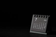 2021 July Calendar On Black Background