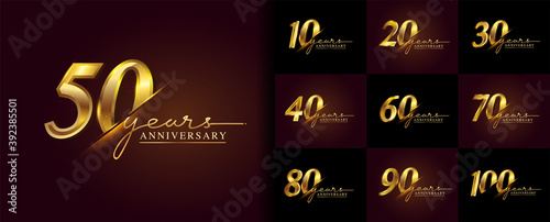 Set of anniversary logotype design with handwriting golden color for celebration event, wedding, greeting card, and invitation Fototapete