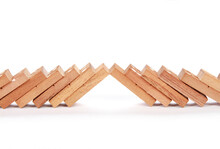 Closeup Shot Of Wooden Dominos...