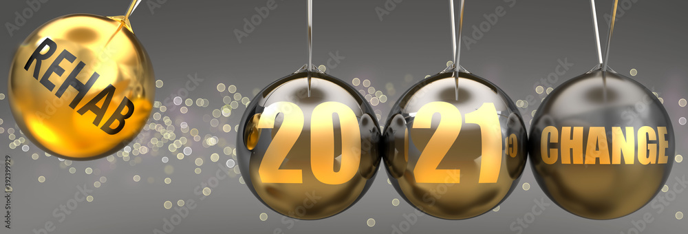 Fototapeta Rehab as a driving force of change in the new year 2021 - pictured as a swinging sphere with phrase Rehab giving momentum to 2021 that leads to a change, 3d illustration