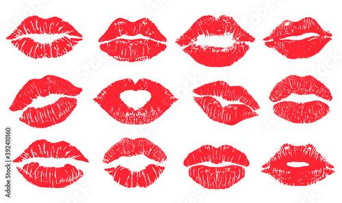 Photo Female lips lipstick kiss print set for valentine day and love illustration