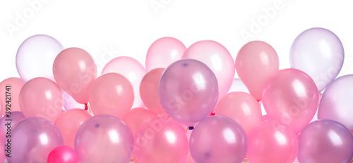Fototapeta Pink and purple balloons isolated on  white. obraz