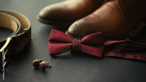 Close up of male wedding groom accessories set Canvas