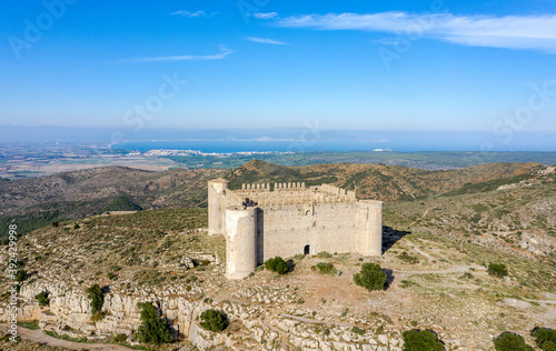 Medieval Castle called El Montgri at the top mountain near the sea in Costa Brava, Spain