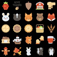 Thanksgiving Related Flat Vector Icon Set 5