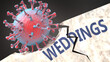 canvas print picture Covid virus destroying weddings - big corona virus breaking a solid, sturdy and established weddings structure, to symbolize problems and chaos caused by covid pandemic, 3d illustration