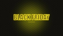Animation Intro Text Black Friday On Fashion And Club Background With Glowing Yellow Grid. Elegant And Luxury Dynamic Style For Club And Entertainment Template