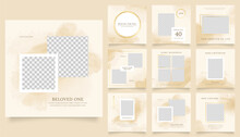 Social Media Template Banner Fashion Sale Promotion. Fully Editable Instagram And Facebook Square Post Frame Puzzle Organic Sale Poster. Brown Yellow Gold White Watercolor Vector Background