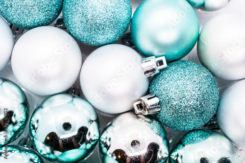 Cuadros en Lienzo Christmas and Holiday decore baubles ranging in colors from blue, silver, red, g