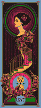 Art Nouveau Style Woman, Clock, Stairs And Orchid Flowers