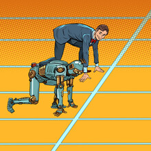 A Businessman Competes With A Robot