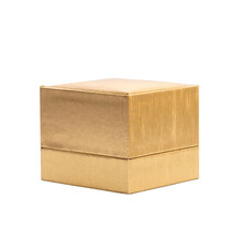 Golden Gift Box Isolated On A White Background. Close Up.