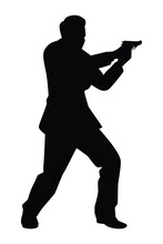 Spy Man Silhouette Vector On White Background