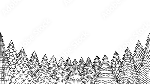 Fototapeta Line art of Christmas tree isolated on white background for coloring book, coloring page or print on stuffs. Vector illustration. obraz