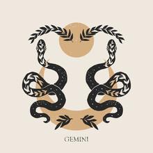 Zodiac Sign Gemini In Boho Style. Trendy Vector Illustration.