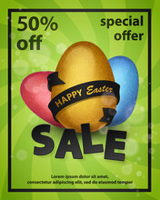 Happy Easter Sale Poster With Red, Blue, Gold Eggs With Black Ribbon In Black Frame On Green Spiral Background. Vector Illustration. Special Offer. Elements For Banner, Cards, Holiday, Party.