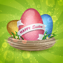 Blue, Red, Gold Eggs With Bokeh, Ribbon And Text Happy Easter In Nest With Grass And Flowers On The Green Spiral Background. Vector Illustration. Elements For Banner, Cards, Poster, Holiday, Party.