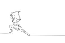 One Continuous Line Drawing Of Young Shaolin Monk Man Practice Kung Fu With Swords At Temple Ground . Traditional Chinese Combative Sport Concept. Dynamic Single Line Draw Design Vector Illustration