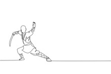 One Single Line Drawing Of Young Energetic Shaolin Monk Man Exercise Kung Fu Fighting With Sword At Temple Vector Illustration. Ancient Martial Art Sport Concept. Modern Continuous Line Draw Design